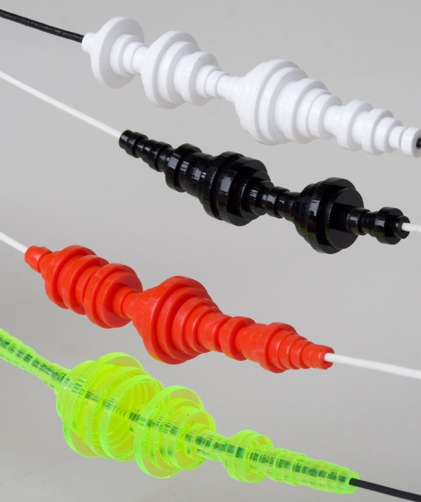 white, black, red & neon yellow 3mm Acylic Soundwave Necklaces