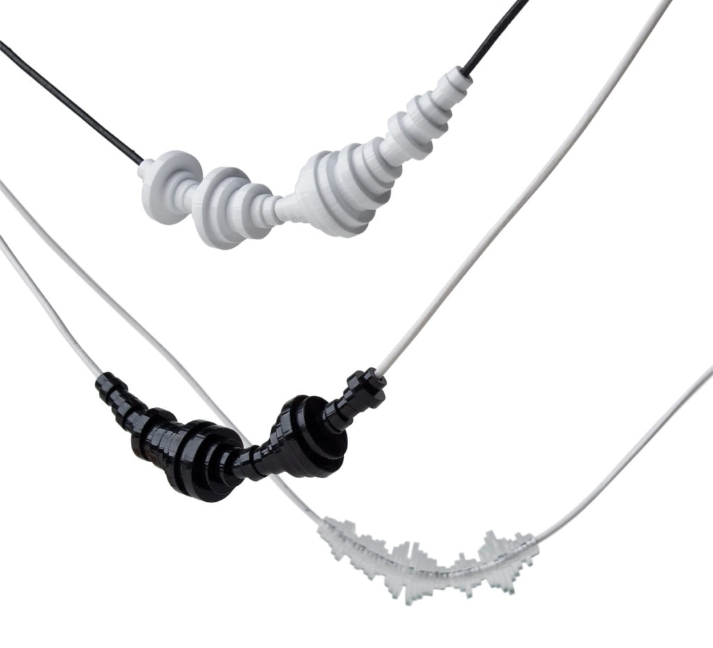 black, white & transparent soundwave jewelry items (bracelets & necklaces)